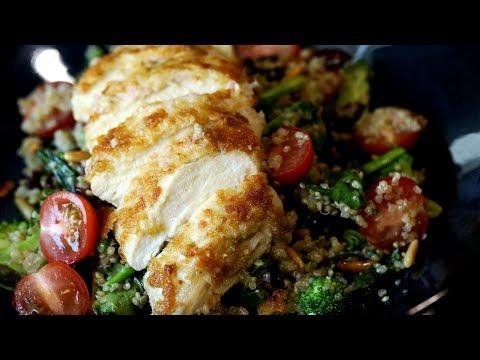 Hummus Chicken Crusted Warm Salad