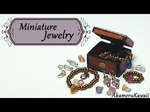 Miniature Jewelry tutorial; Necklace, bracelet, rings, & earrings