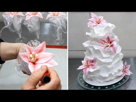 How to make a Beautiful Fondant Ruffle Cake *Torta de Boda con volantes