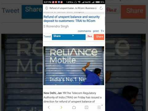 Refund of unspent balance and security deposit to customers: TRAI to RCom