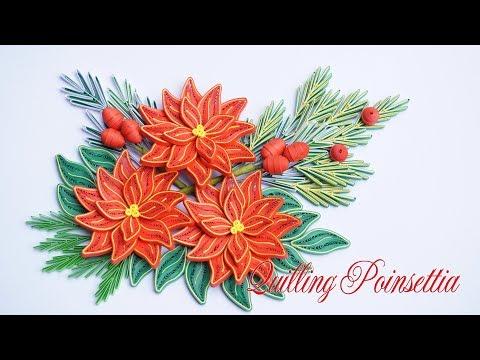 Quilling Poinsettia Flower V3 Tutorial | DIY Paper Poinsettia Flower Tutorial Christmas Decoration