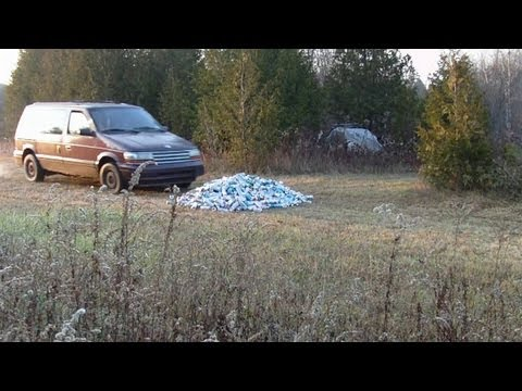 Crushing cans with the 95 Dodge Caravan