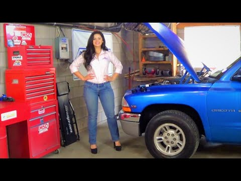 Beautiful Sonia Replaces Serpentine Belt, Idler and Tensioner Pulleys on Dodge Dakota
