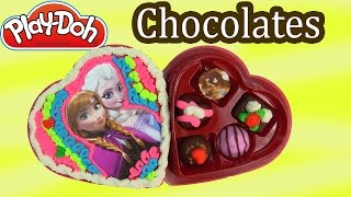 Playdoh Chocolate Candy Box Disney Frozen Queen Elsa Anna Valentines Day Holiday Toy Play Maker