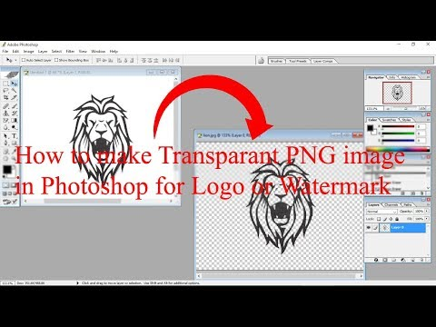 How to make transparent PNG watermark in Photoshop - Hindi