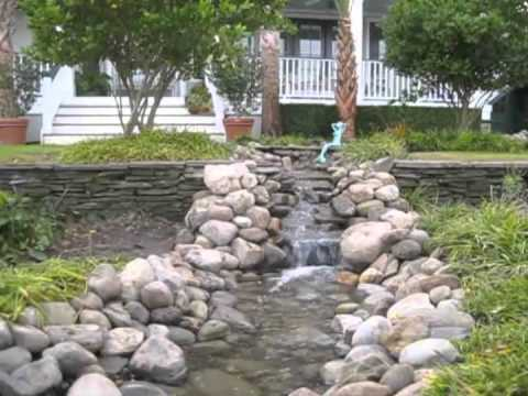 Backyard Stream with Multiple Waterfalls and a Pond