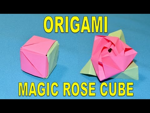 How To Make an Origami Magic Rose Cube. Paper Flower Rose. ORGANZA