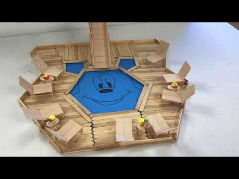 How to Build a Popsicle Stick Pool and Amusement Park Swing