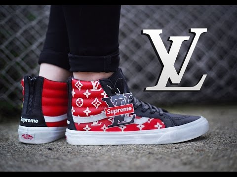 b0626a90dd14 How To  Louis Vuitton x Supreme Collab Vans Sk8 Hi Custom + On Foot