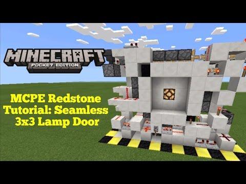 Minecraft Pocket Edition Redstone Tutorial: Seamless 3x3 Lamp Door (MCPE 1.1.0)