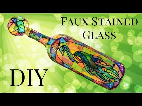 Faux Stained Glass Wine Bottle DIY Using Food Coloring