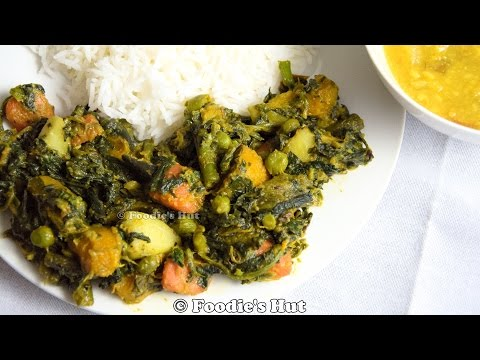 Spinach and Mixed Vegetable (  Bengali  Palong Shaker Tarkari/ Ghonto)- Recipe by Foodie's Hut #0125