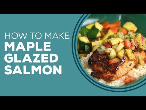 Paula Deen's Maple Glazed Salmon with Pineapple Salsa and Polenta