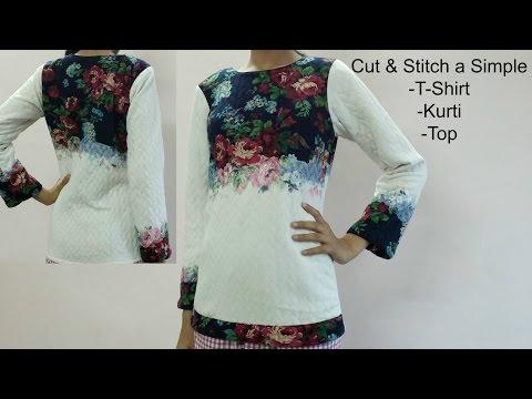 Make a Simple T Shirt / Top / Kurti : Cut & Sew long sleeves Top / t shirt/ Kurti Stretchable Fabric