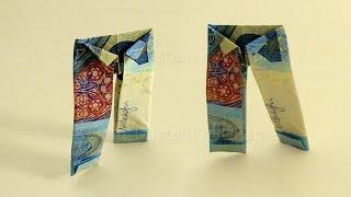 Geldschein Falten Mantel Einfache Origami Kleidung Falten Aus