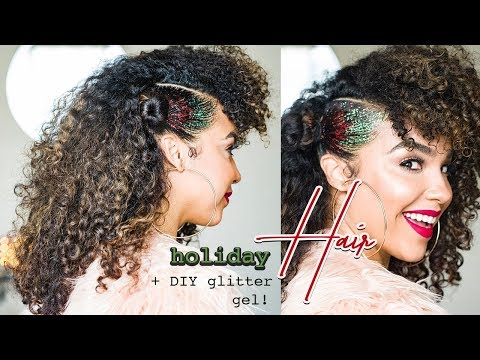 Holiday Curly Hair Tutorial with DIY GLITTER GEL