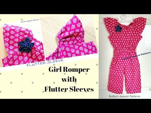 Girl Romper with Flutter Sleeves - Easy Making of Jumpsuit