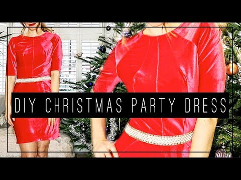 DIY Office Christmas Party Dress 💃👠🎄   Red Velvet Dress Tutorial for the Holidays