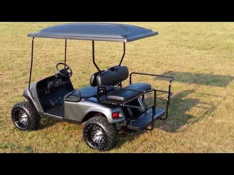 GAS! Custom Lifted Charcoal Metallic Golf Cart with Turn Signals, 14