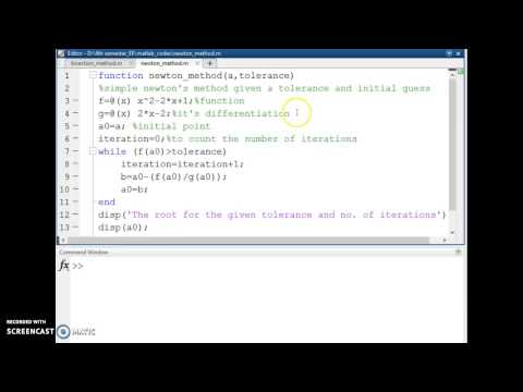 Newton's method to find roots in matlab