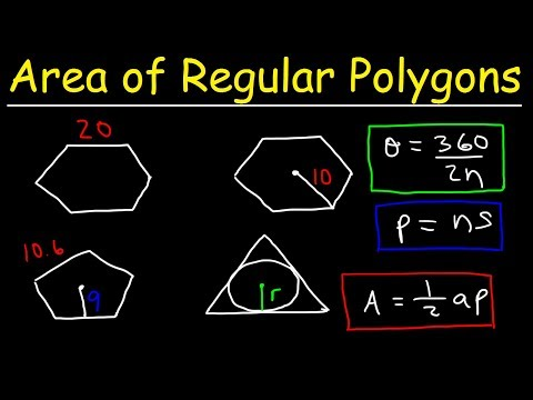 Area of Regular Polygons - Hexagons, Pentagons, & Equilateral Triangles With Inscribed Circles