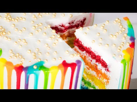 Rainbow Cake in Cooker Recipe | No Egg - No Oven Cake | Eggless Baking Without Oven