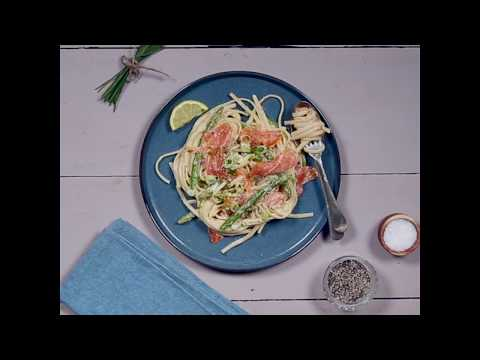 LIDL DELUXE Smoked Salmon and Asparagus Linguine with Lemon Cream