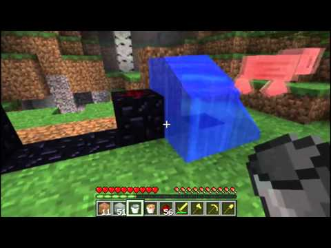 Minecraft Tutorial: Nether Portal With Just 1 Water, 1 Lava & 14 Redstone! (NO Diamonds)