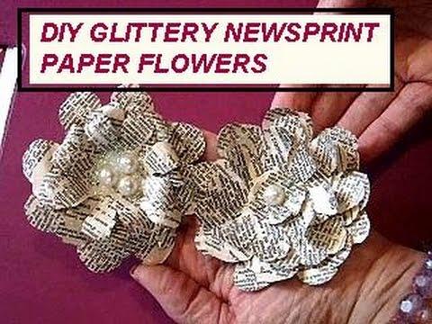 MAKE NEWSPRINT GLITTERY PAPER FLOWERS - book page craft - cardmaking, journaling, scrapbooking