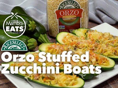 Orzo Stuffed Zucchini Boats - Mambo Eats & RiceSelect