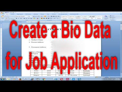 How To Make A BIO-DATA For Job Application