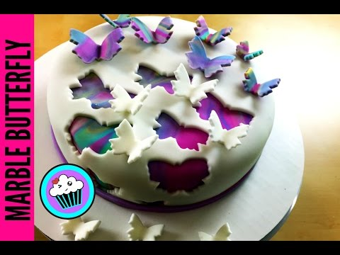3D Marble Butterfly Cake | Pinch of Luck