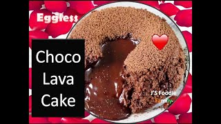 Chocolate Lava Cake (Egg-less) easy and quick recipe to make delicious Valentine cake