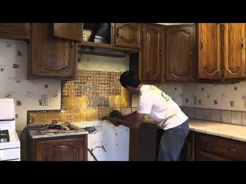 How To Install Granite Countertops On A Budget - Part 1 Removing The Old Tile
