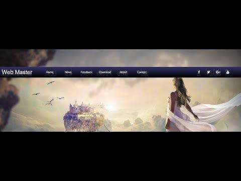 Navigation bar with social media and brand name