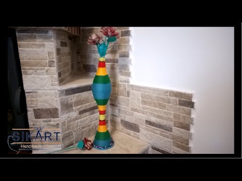 DIY How To Make a Vase Using Plastic Bottles and Newspapers Tutorial