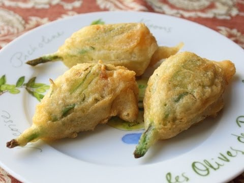 Fried Stuffed Squash Blossoms - Squash Flowers Stuffed with Goat Cheese