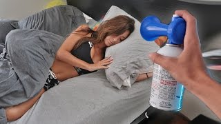 AIRHORN PRANK ON SLEEPING GIRLFRIEND!