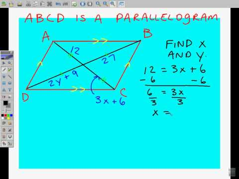 Solving for diagonal length in Parallelograms.avi