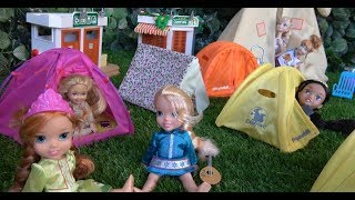 Elsa and Anna toddlers go camping with My little Pony, Chelsea, Jasmin, Stacey and Barbie
