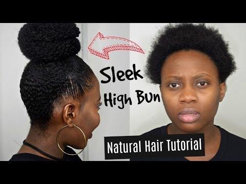 Super Easy Protective Style   High Bun On Short Natural Hair Tutorial