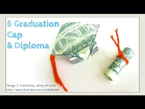 DIY How to Fold $2 Money Origami Graduation Cap & Diploma - Dollar Origami Graduation Gift Idea