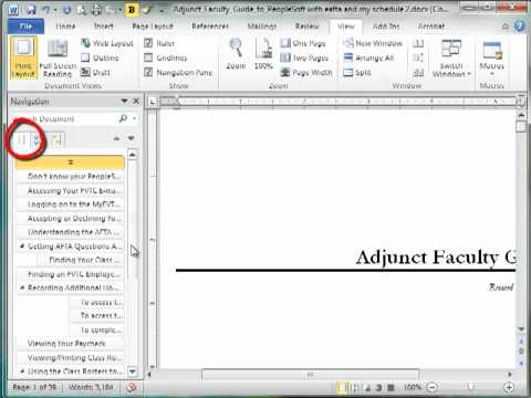 Using the Navigation Pane in Microsoft Word
