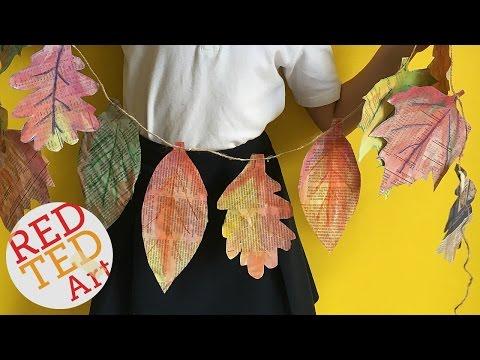 DIY Fall Room Decor - Art Project - Newspaper  Leaf Garland DIY