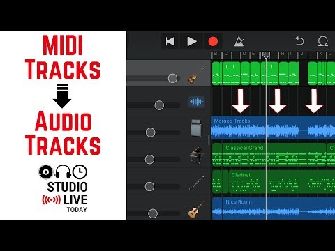 How to convert MIDI tracks to audio tracks in GarageBand iOS