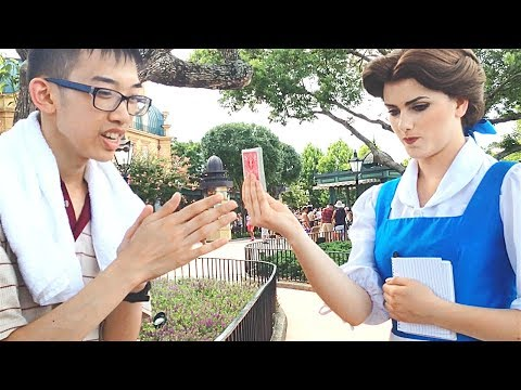 Princess Belle reacts to MAGIC TRICK at Disney World