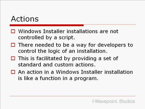 MSI - Actions and Sequences - InstallShield 2009