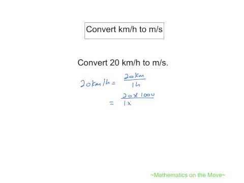Convert kmh to ms (Speed Conversion)