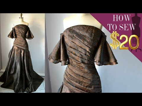 How To Sew A Off The Shoulder Pleated Gown For $20 (E 02)