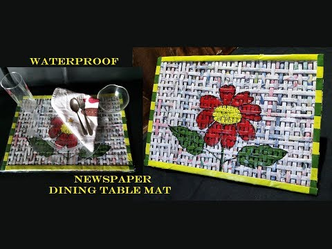 How To Make Waterproof Newspaper Dining Table Mats / Placemat From Newspaper / Newspaper Craft